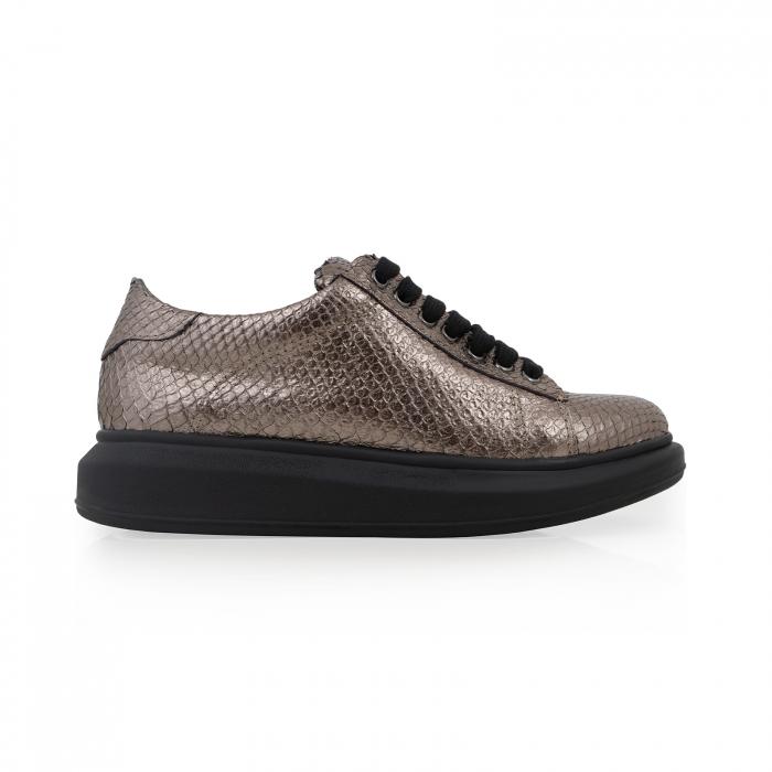 Pantofi cu talpă groasă, realizati din piele naturala, bronz laminat cu textura tip piele de sarpe 0