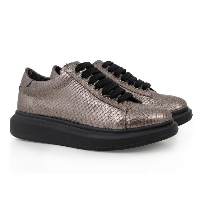 Pantofi cu talpă groasă, realizati din piele naturala, bronz laminat cu textura tip piele de sarpe 1