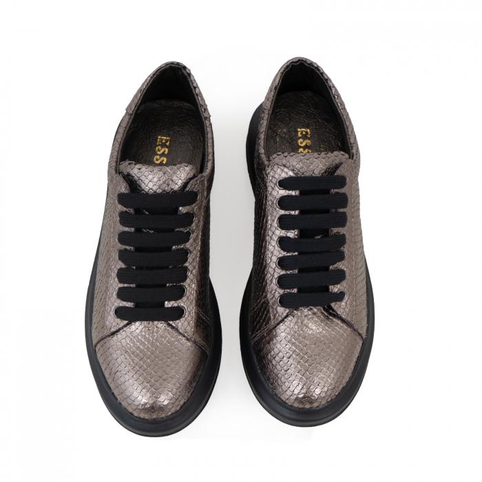 Pantofi cu talpă groasă, realizati din piele naturala, bronz laminat cu textura tip piele de sarpe 2