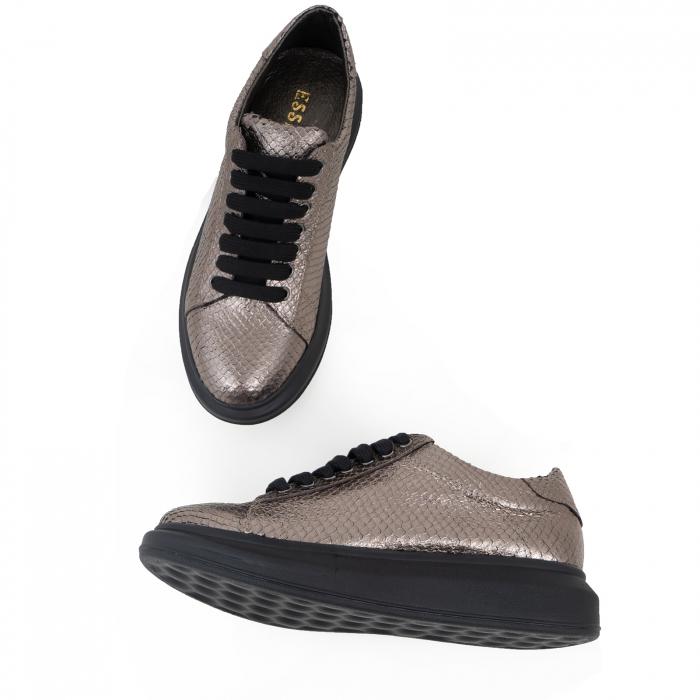Pantofi cu talpă groasă, realizati din piele naturala, bronz laminat cu textura tip piele de sarpe 3