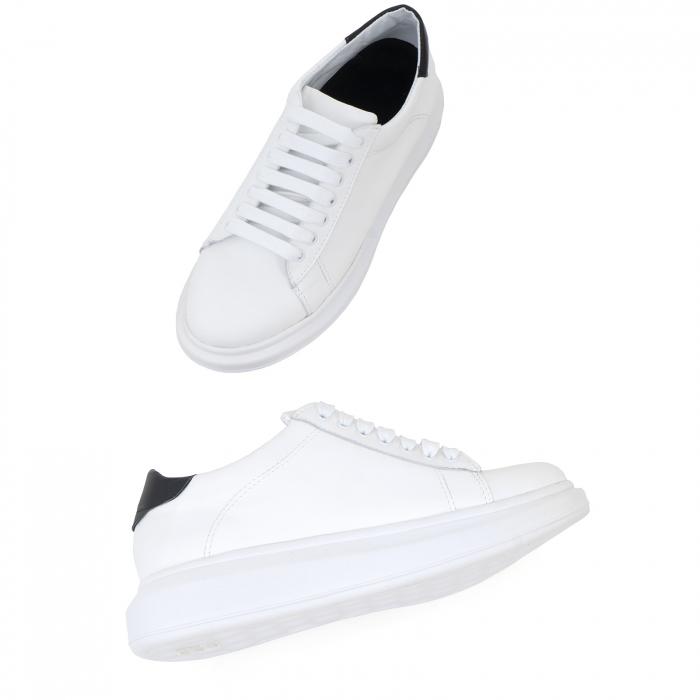 Pantofi cu talpă groasă, realizati din piele naturala alba 2