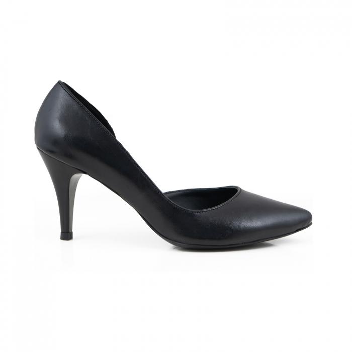Pantofi stiletto din piele naturala neagra, cu decupaj interior 0