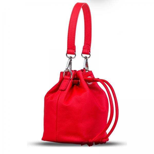 Poseta Kristy mini bucket  din piele naturala rosie 1