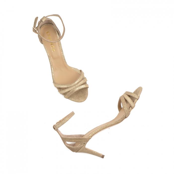 Sandale din piele glitter aurie 4