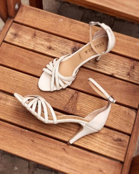 Sandale cu barete, din piele naturala, alb unt 1