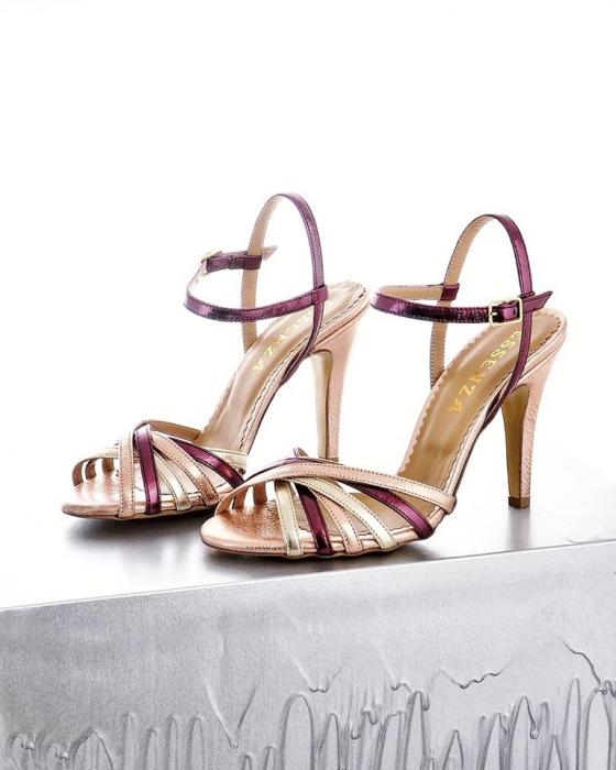 Sandale cu barete, din piele naturala metalizata auriu pal, auriu rose si visiniu lac 0