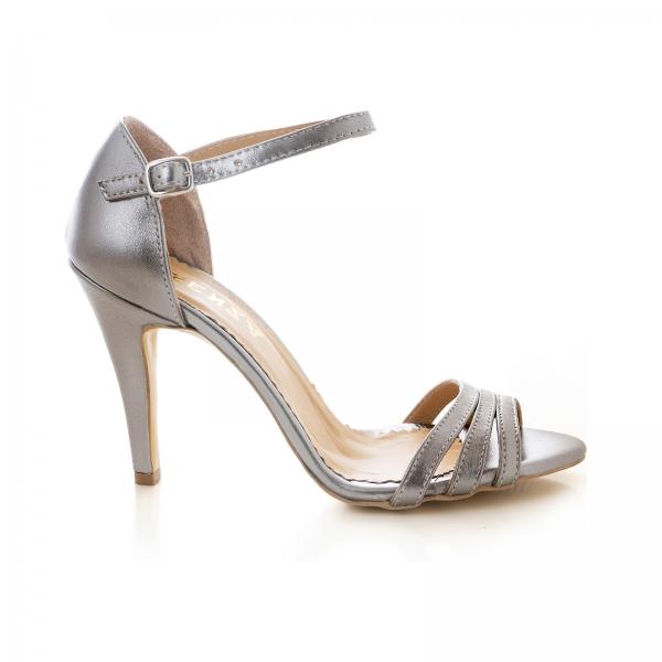 Sandale cu barete, din piele de nuanta argintiu perlat 0