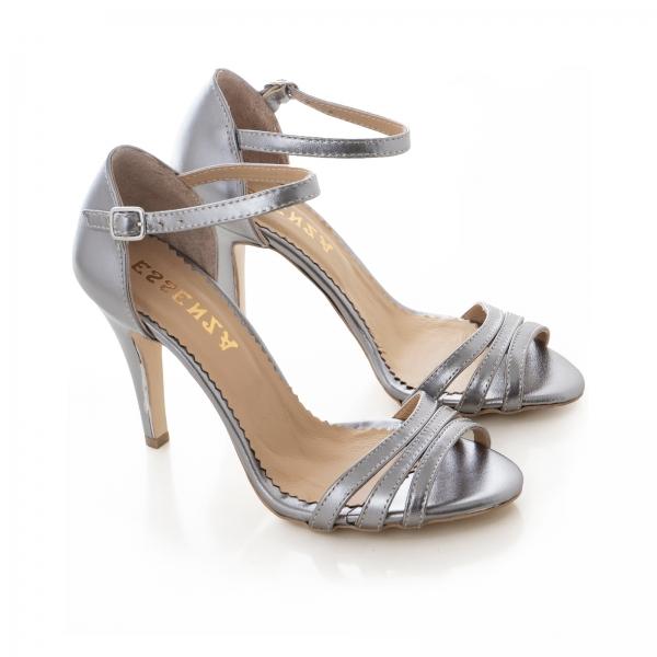 Sandale cu barete, din piele de nuanta argintiu perlat 1