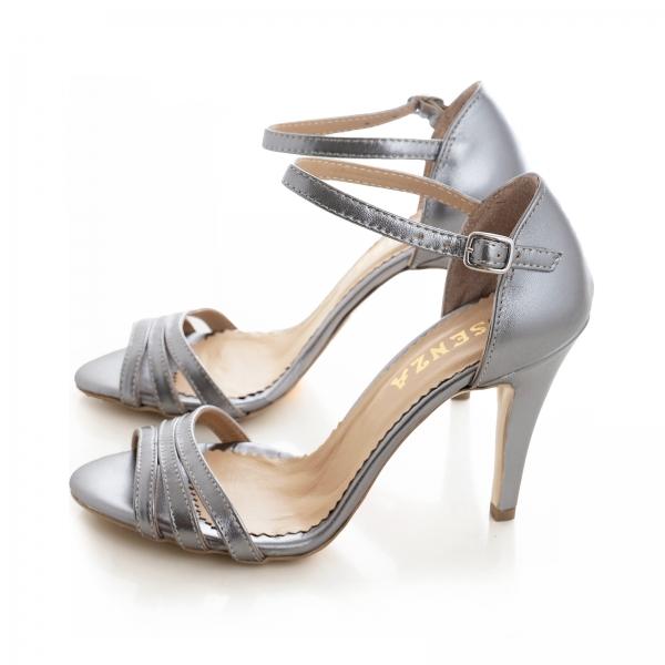 Sandale cu barete, din piele de nuanta argintiu perlat 2