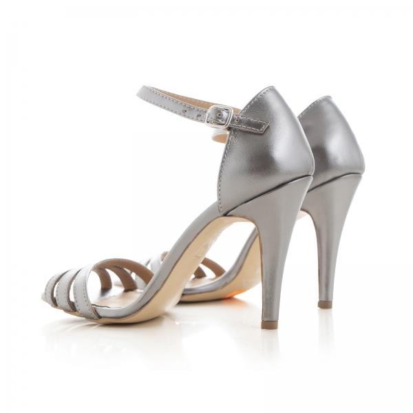 Sandale cu barete, din piele de nuanta argintiu perlat 3