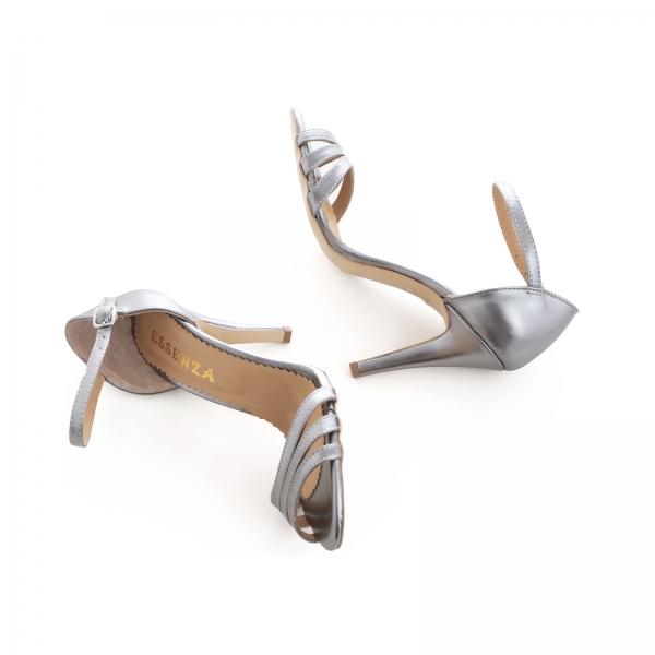 Sandale cu barete, din piele de nuanta argintiu perlat 4