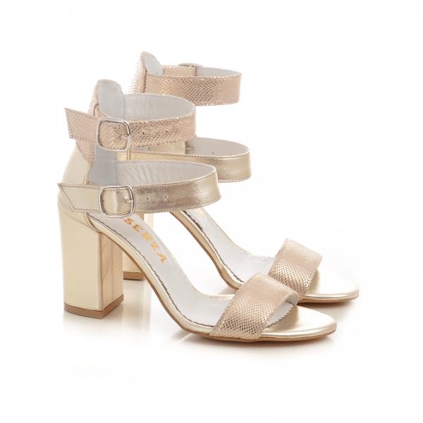 Sandale cu toc gros, din piele aurie 1