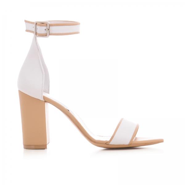Sandale din piele alba si bej, cu toc gros [0]