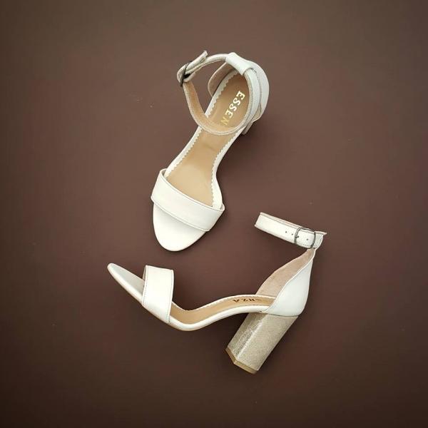 Sandale cu toc gros, din piele alba si nude glitter 0