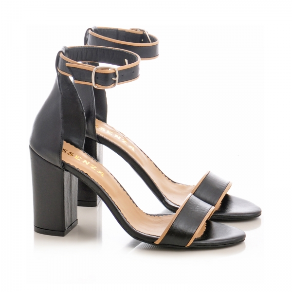 Sandale cu toc gros, din piele neagra cu si bej 1