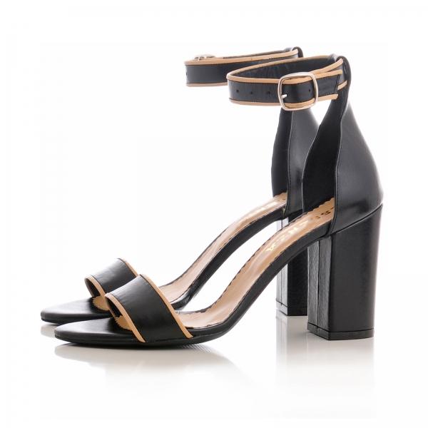 Sandale cu toc gros, din piele neagra cu si bej 2