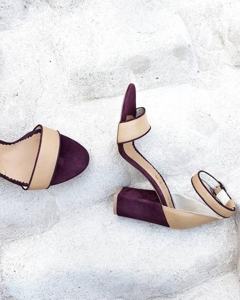 Sandale cu toc gros, din piele intoarsa visinie si piele nude [0]