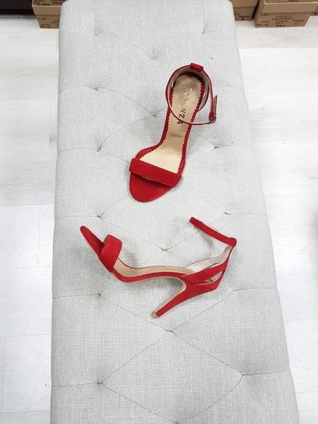 Sandale din piele intoarsa rosie [0]