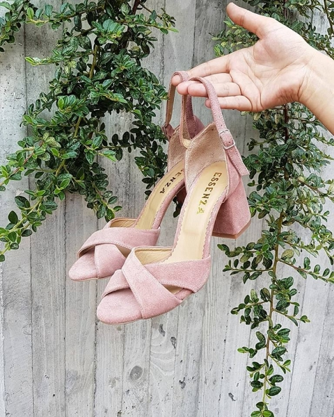 Sandale din piele intoarsa roz somon [0]