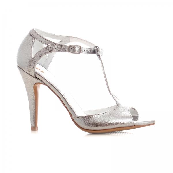 Sandale cu fundita, din piele argintiu platina 0