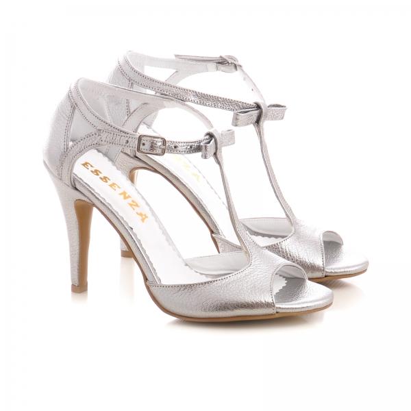Sandale cu fundita, din piele argintiu platina 1