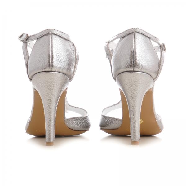 Sandale cu fundita, din piele argintiu platina 3