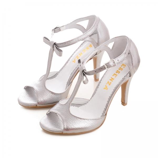 Sandale cu fundita, din piele argintiu platina 2