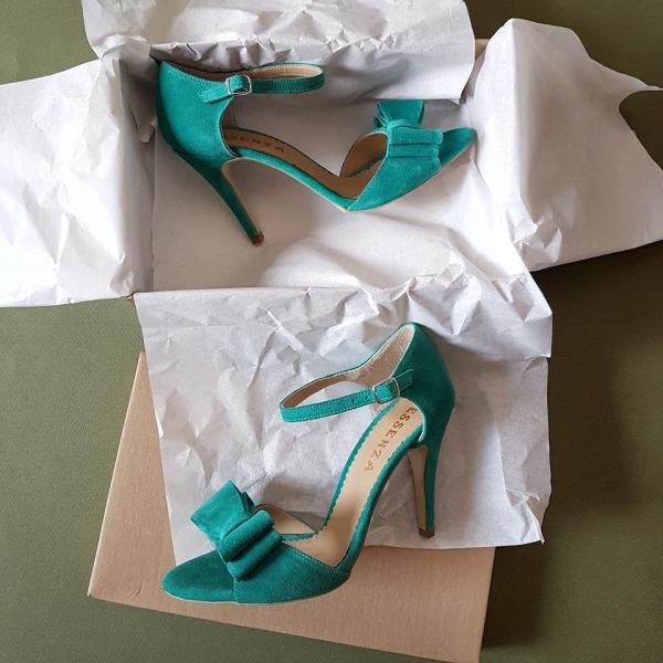 Sandale din piele intoarsa turquoise, cu funde duble 0