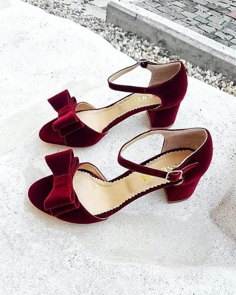 Sandale din catifea burgundy, cu funde duble 0