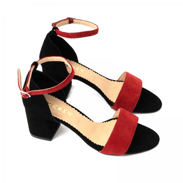 Sandale din piele intoarsa neagra si rosie 2