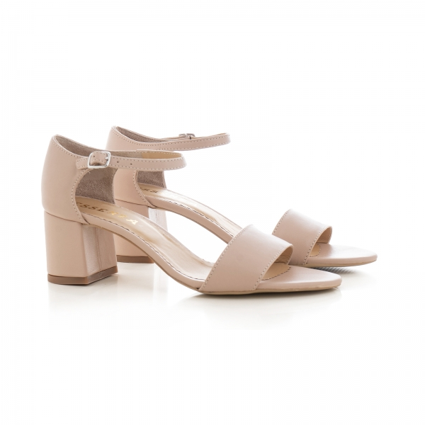 Sandale din piele naturala nude roze 1