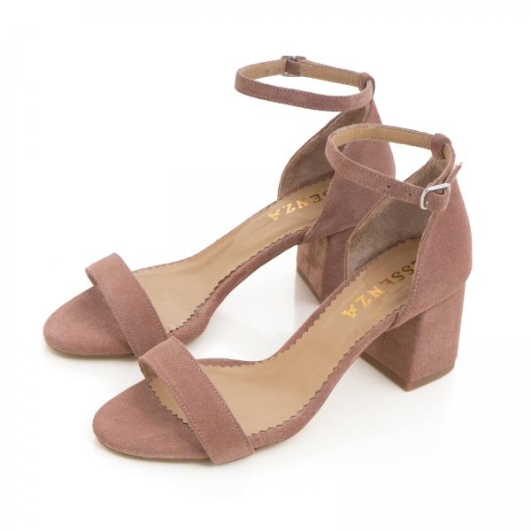 Sandale din piele intoarsa roz somon, cu toc gros. [1]