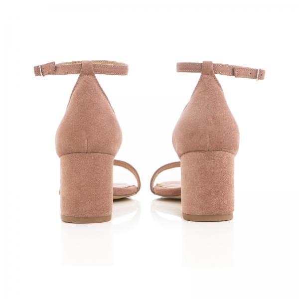 Sandale din piele intoarsa roz somon, cu toc gros. [2]