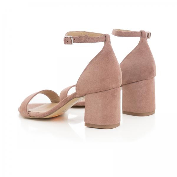 Sandale din piele intoarsa roz somon, cu toc gros. [3]