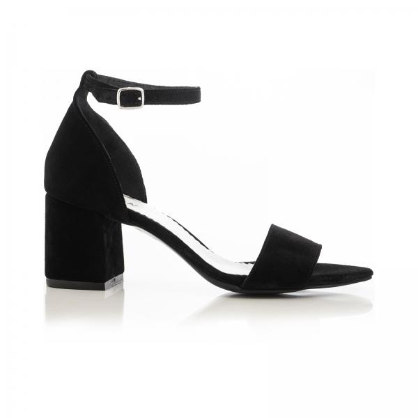 Sandale din piele intoarsa neagra, cu toc gros. 0