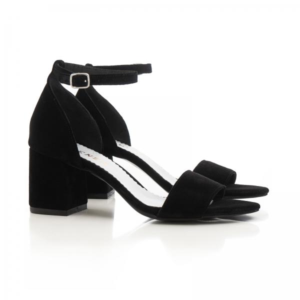 Sandale din piele intoarsa neagra, cu toc gros. 1