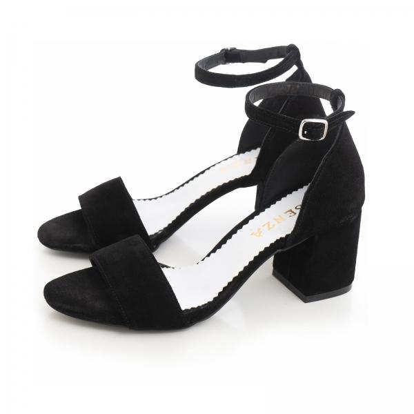 Sandale din piele intoarsa neagra, cu toc gros. 2