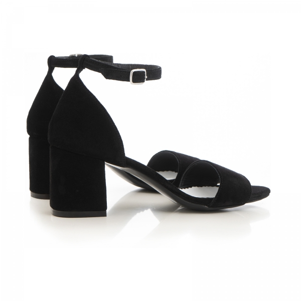 Sandale din piele intoarsa neagra, cu toc gros. 3