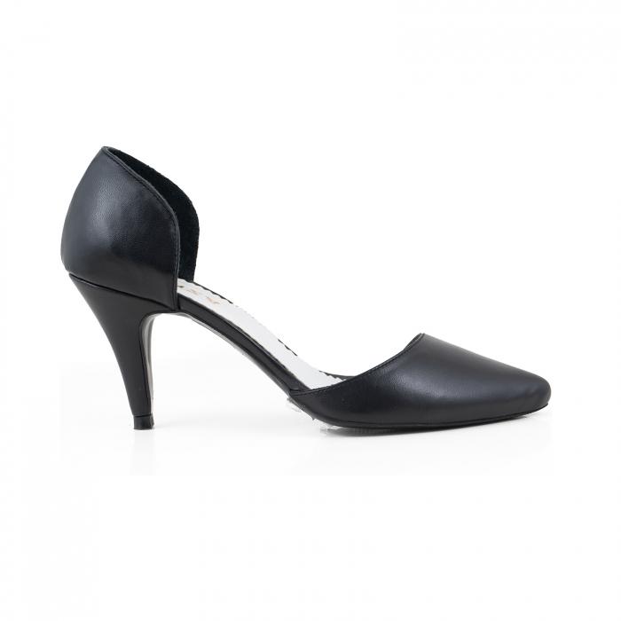 Pantofi stiletto decupati(interior/exterior), realizati din piele naturala neagra 0