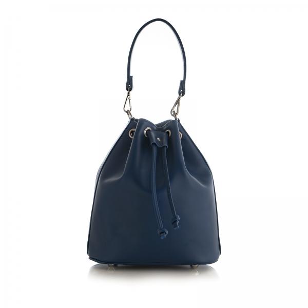 Poseta Kristy bucket din piele naturala bleu marine 0