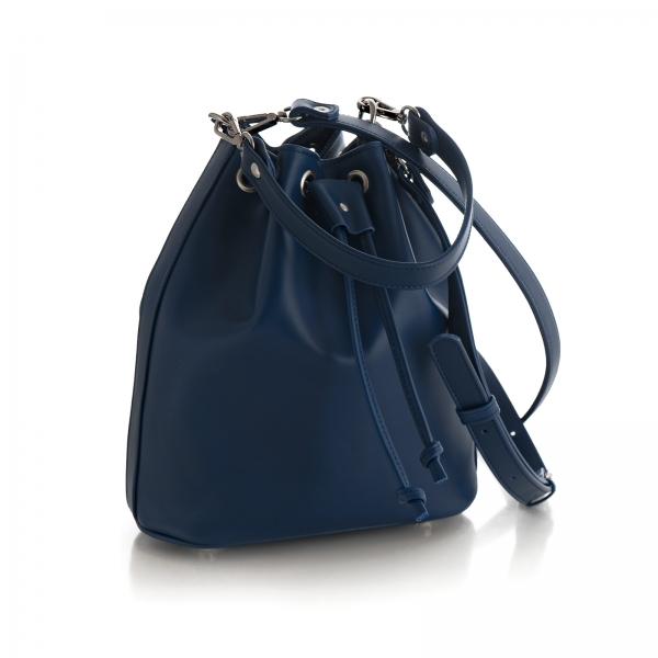 Poseta Kristy bucket din piele naturala bleu marine 1