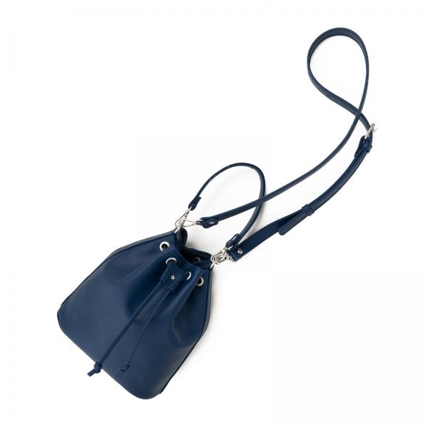 Poseta Kristy bucket din piele naturala bleu marine 2
