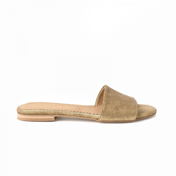 Flip flops din piele naturala auriu glitter 0