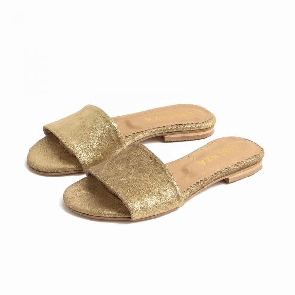 Flip flops din piele naturala auriu glitter 1