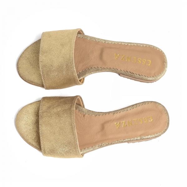 Flip flops din piele naturala auriu glitter 2
