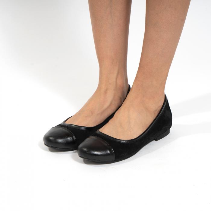 Balerini confortabili si foarte usori, relizati din piele naturala normala si intoarsa, neagra 3