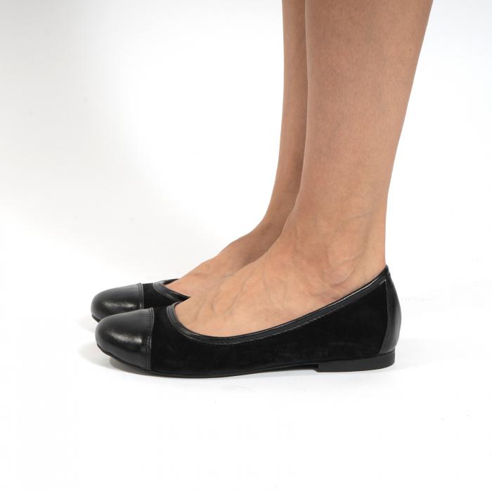 Balerini confortabili si foarte usori, relizati din piele naturala normala si intoarsa, neagra 1