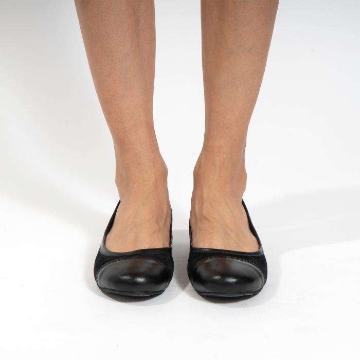 Balerini confortabili si foarte usori, relizati din piele naturala normala si intoarsa, neagra 2