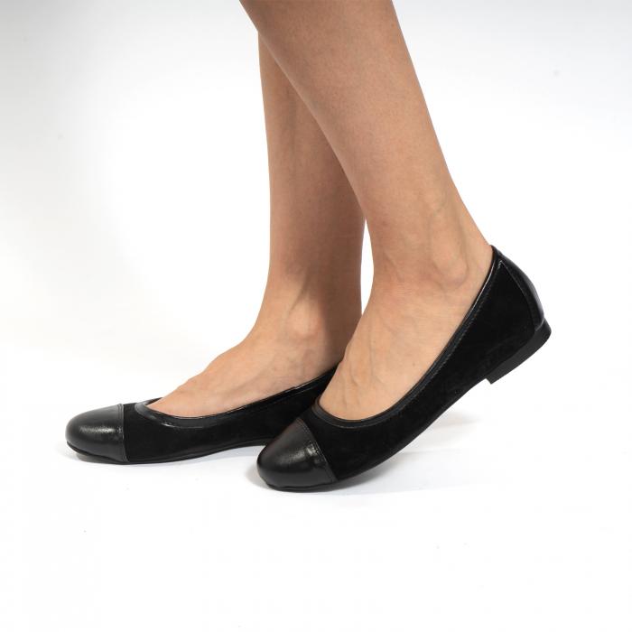 Balerini confortabili si foarte usori, relizati din piele naturala normala si intoarsa, neagra 4