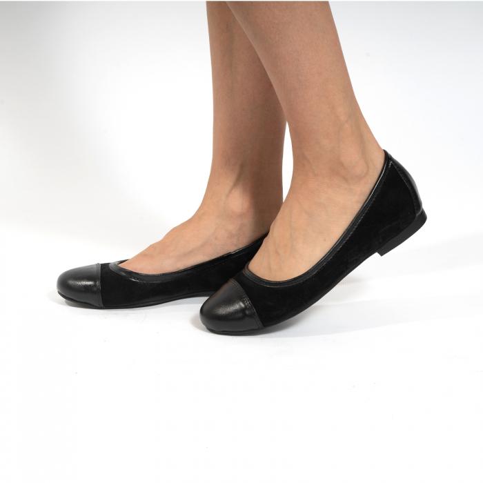 Balerini confortabili si foarte usori, relizati din piele naturala normala si intoarsa, neagra 0